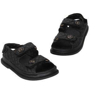 Chanel Black Quilted Leather Lambskin Dad Sandals